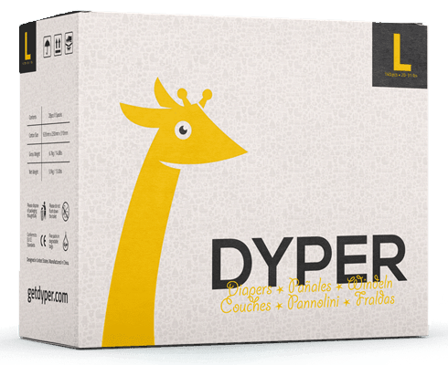a box of Dyper Diapers