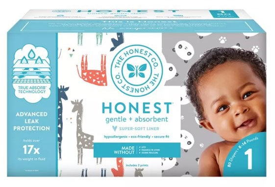 a box of Honest Diapers
