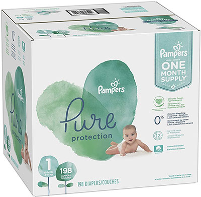 A box of Pampers Pure Diapers