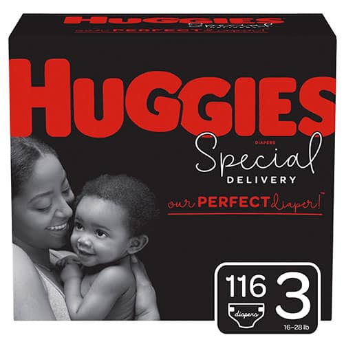 a box of Huggies Special Delivery diapers