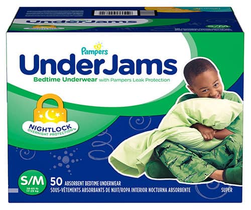 A box of Pampers Under Jams