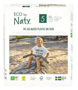 A box of Eco by Naty training pants