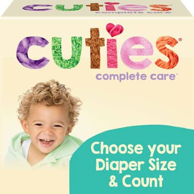 A box of Cuties Diapers