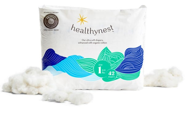 A bag of Healthynest diapers