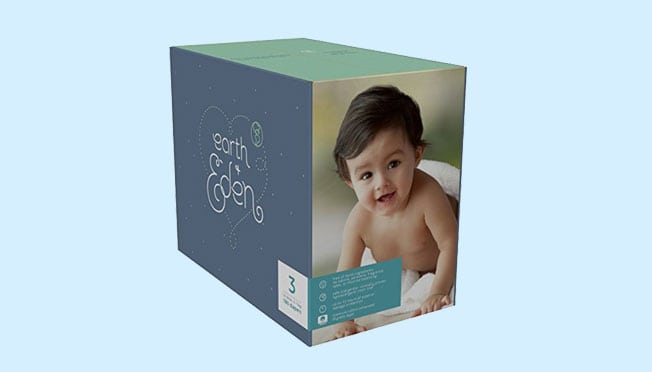 a box of Earth and Eden diapers