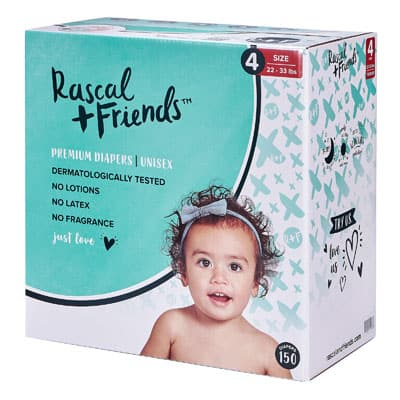 a box of Rascal and Friends diapers
